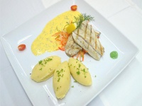 Marinated grilled seabass